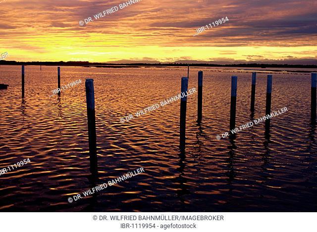 Sunset over the lagoon of the Adria, Bibione, Venetia, Venice, Italy, Europe