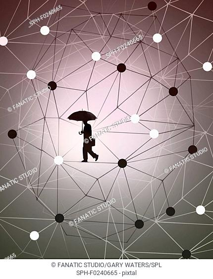 Conceptual illustration of a businessman walking in a molecular structure depicting science and business
