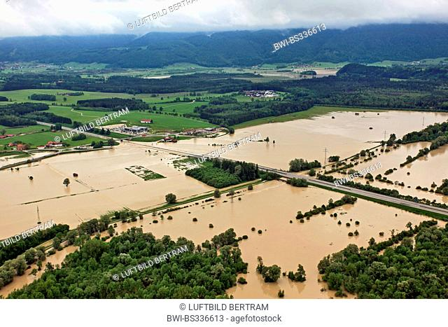 highway A8 at lake Chiemsee flooded bei river Tiroler Achen in June 2013, Germany, Bavaria