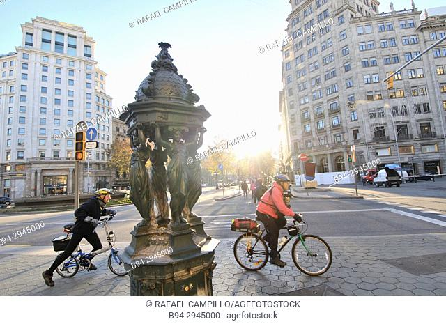Wallace fountain. Designed by Charles-Auguste Lebourg. Financed by Richard Wallace. Intersection Gran Via with Passeig de Gràcia