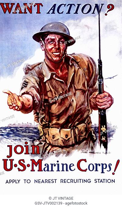 U.S. Recruitment Poster, Want Action? Join the U.S. Marine Corps, by Montgomery Flagg, 1942