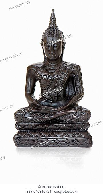 traditional bronze Buddha statuette isolated on white background