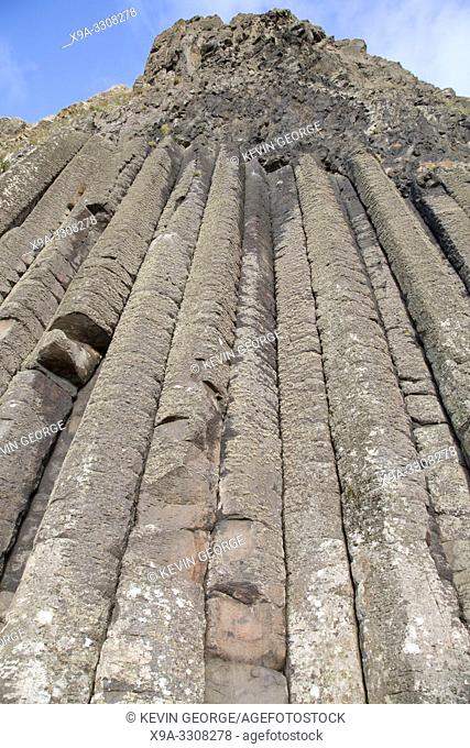 Organ Structure on Giants Causeway Coastal Footpath; County Antrim; Northern Ireland, UK