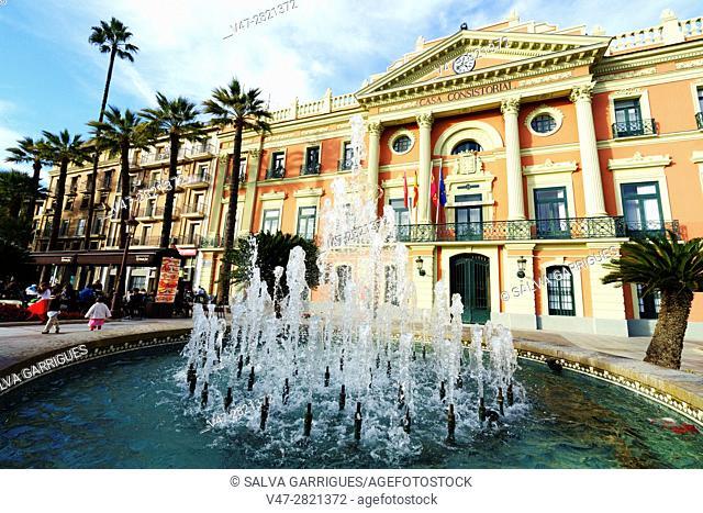 Facade of the town hall of Murcia, Plaza La Glorieta, Murcia, Spain, Europe