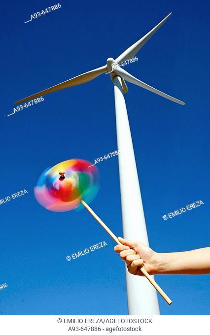 Wind turbine. Serra del Tallat. Tarragona province, Spain