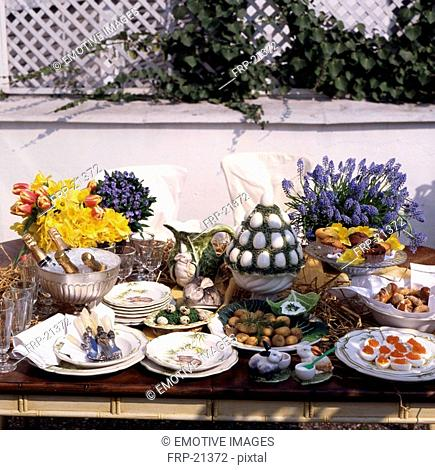 Laid Easter table outdoors