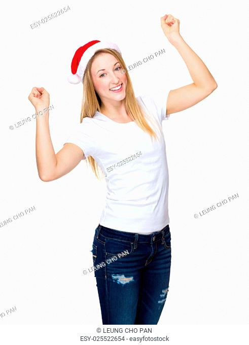 Woman with red christmas hat raised hand up