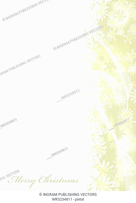 Merry christmas white background with gold snow flake border