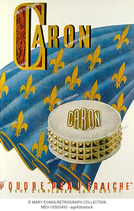 Advertisement for Caron face powder, Peau Fraiche. Can be used without foundation cream