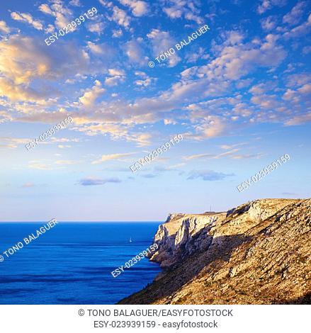 Aerial Denia San Antonio Cape from las Rotas in Alicante Spain Mediterranean
