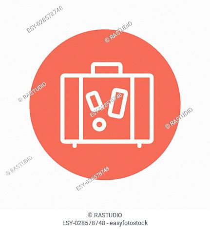 Suitcase thin line icon for web and mobile minimalistic flat design. Vector white icon inside the red circle