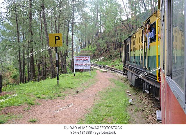 "The narrow """"toy train"""" (small, narrow-gauge train) that slowly climbs the almost 100km from the plains of Kalka to Shimla"