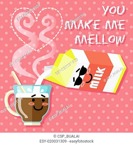 smiling cartoon on coffee cup and milk carton