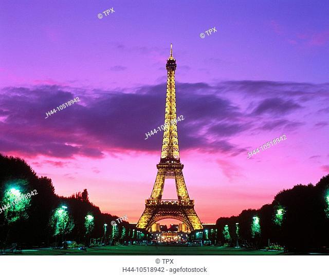 10518942, France, Europe, Paris, Eiffel Tower, landmark, at night, mood, pink, sky, view, sight, against Trocadero, park