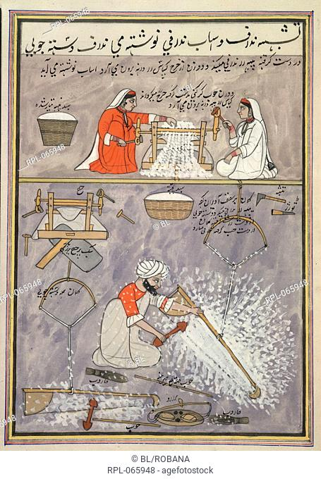 Two women ginning cotton, man carding cotton. Opaque watercolour. Originally published/produced in 1850-1860