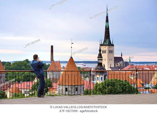 Old Town from viewing platform in Toompea district,Tallinn,Estonia