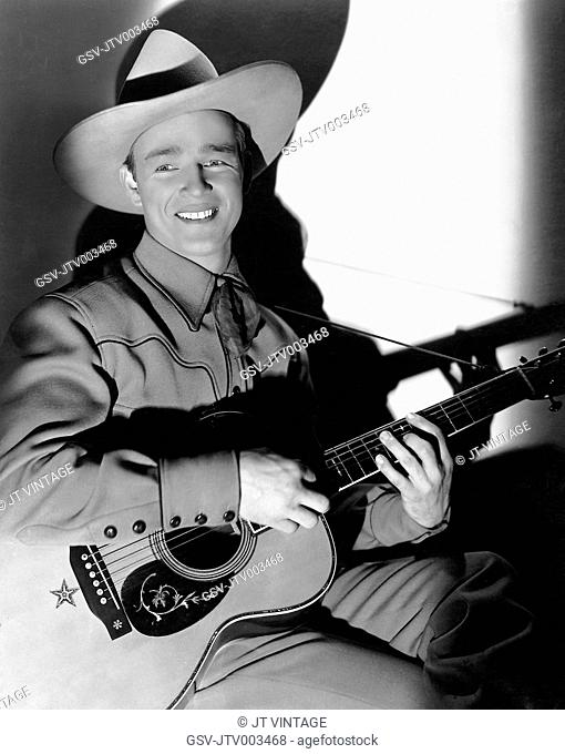 Roy Rogers, on-set of the Film, Under Western Stars, 1938