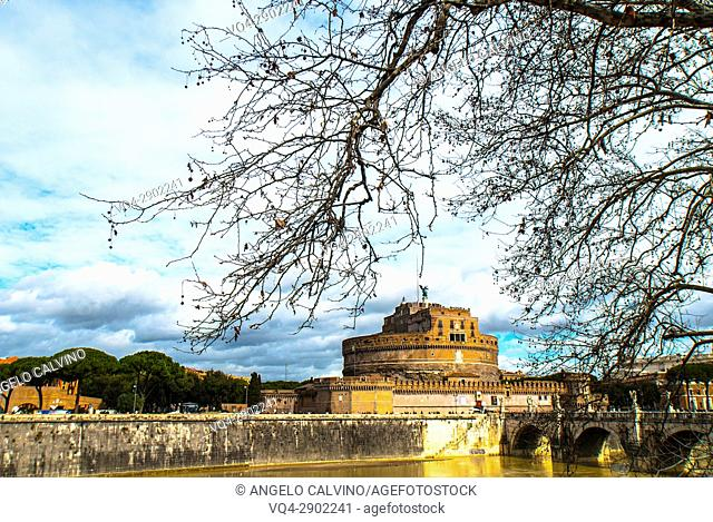View of Castel Sant'Angelo and Tiber River , Rome, Italy, Europe