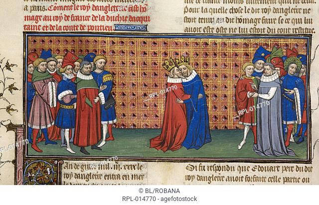 Edward III and Phillip VI, Miniature King Edward III of England does homage to King Phillip VI of France, with courtiers looking on