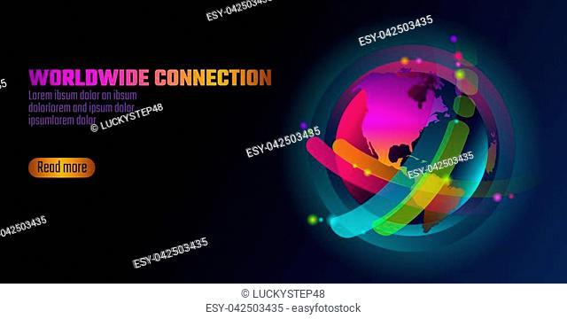 Colorful vibrant globe planet shape banner. Virtual reality space iridescent fluid gradient neon shapes. Liquid splash bubble. Augmented media