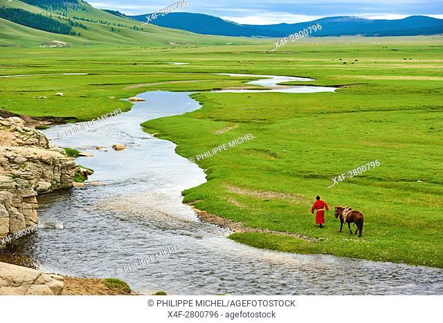 Mongolia, Arkhangai province, Mongolian horserider in the steppe