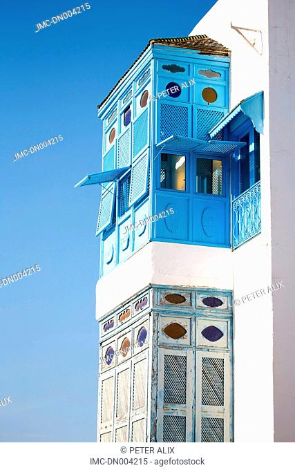 Tunisia, Sidi Bou Said, white houses with blue window
