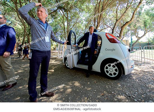 US Secretary of State John Kerry exiting a Google self-driving car, Palo Alto, California, June 23, 2016. Image courtesy US Department of State