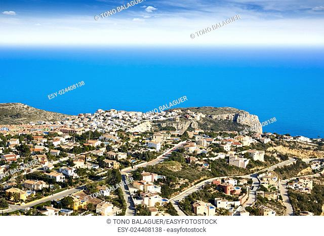 Benitatxell beach area aerial view Alicante in Spain mediterranean sea