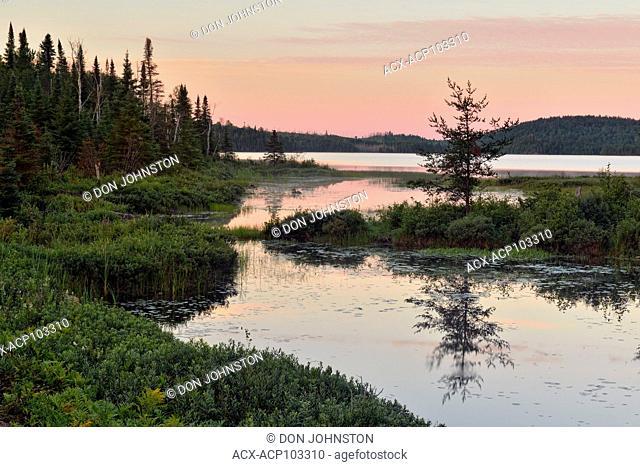 Halfway Lake at dawn, Halfway Lake Provincial Park, Ontario, Canada