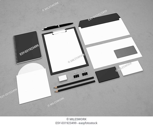 Mockup business template with clipboard, notepad and envelopes. Textured paper background. 3d illustration