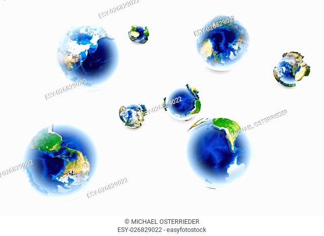 A bunch of globes of different sizes and angles. 3D illustration