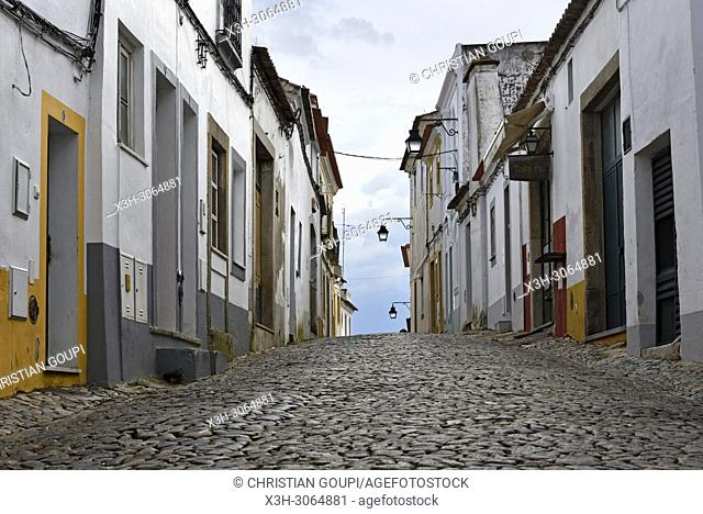 cobbled alley at Evora, Alentejo region, Portugal, southwertern Europe