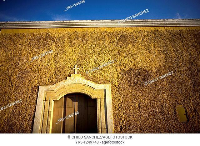 A facade of a home in Izamal on Mexico's Yucatan peninsula