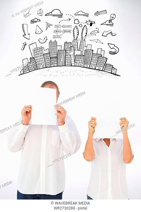 Man and woman holding blank white papers in front of their face and graphic on background