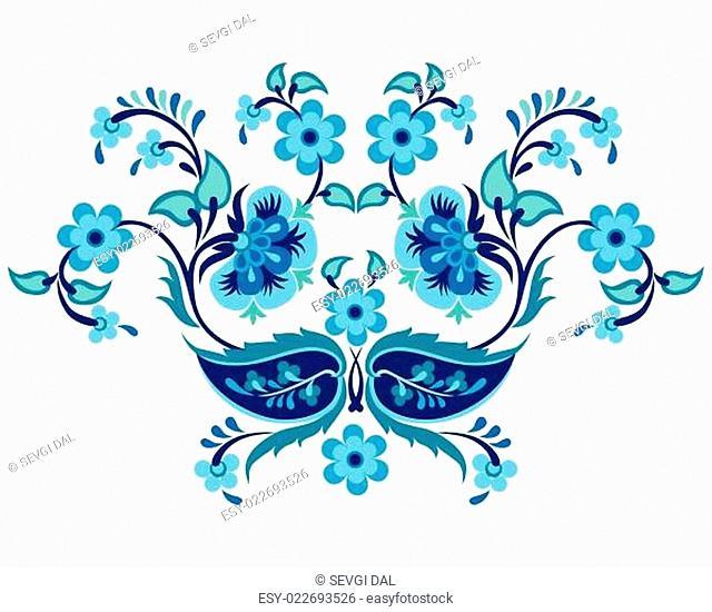 blue oriental ottoman design twenty-one