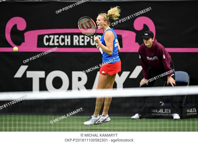 Czech tennis player Katerina Siniakova celebrates her win against US tennis player Alison Riske (not seen) within the 2018 Fed Cup final match between Czech...