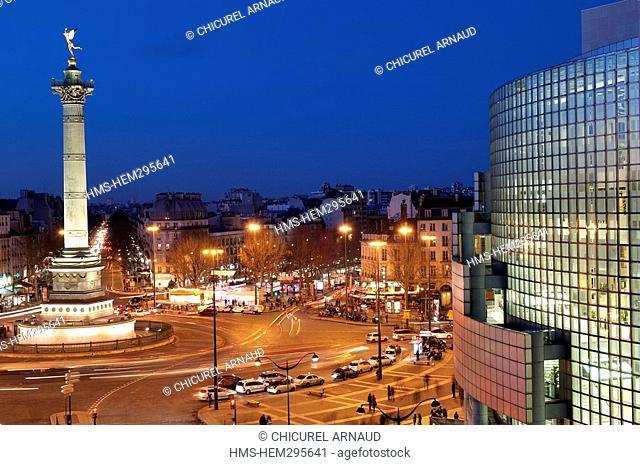 France, Paris, Bastille square, the Colonne de Juillet column of July and Bastille opera house by the architect Carlos Ott