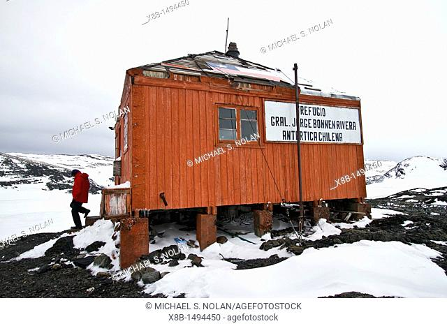 Views of the Chilean Antarctic refuge hut Jorge Bonnen Rivera situated on Hut Point on the Antarctic Peninsula, Weddell Sea