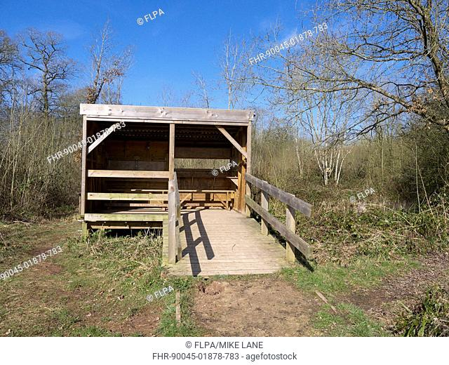 Birdwatching hide in woodland habitat, Highnam Woods RSPB Reserve, Gloucestershire, England, March