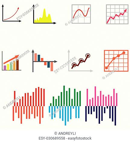 set of charts and graphs for reports and statistics