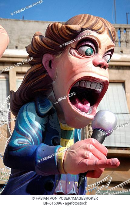 Colourful paper-maché figure (Mick Jagger of the Rolling Stones) at the Fallas festival, Valencia, Spain, Europe