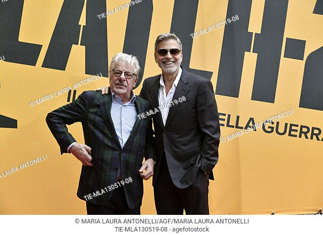 Giancarlo Giannini, George Clooney during the photocall of fillm tv Catch-22, Rome, ITALY-13-05-2019