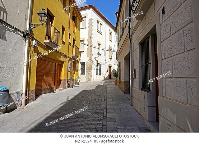 Quiet street in the town of Caldes de Montbui, famous for its thermal waters and spas. Barcelona, Catalonia, Spain