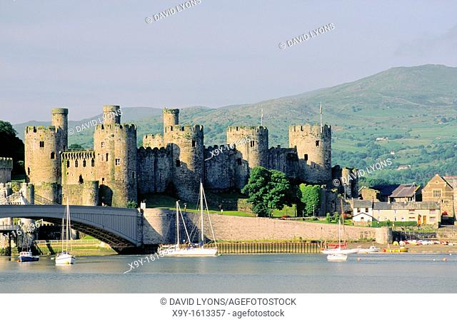 Mediaeval Conwy Castle, built by King Edward 1, on the River Conwy, Snowdonia, in the Gwynedd region of north Wales, UK