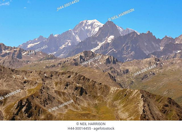 the Mont Blanc, the highest summit in europe, viewed from the swiss side (east)