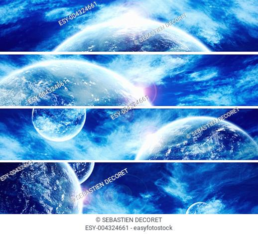 Collection of 4 planet web banner