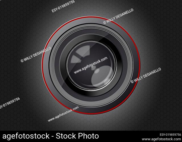 camera lens with carbon effect