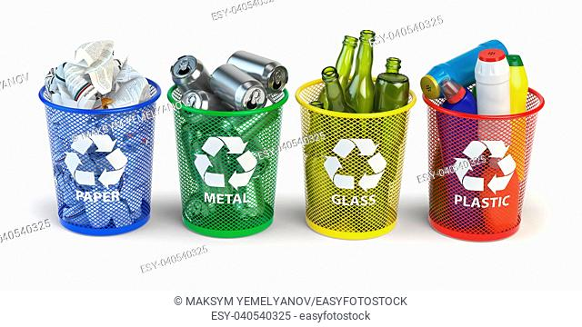 Colored trash bins for recycle paper, plastic, glass and metal isolated on white background. 3d illustration
