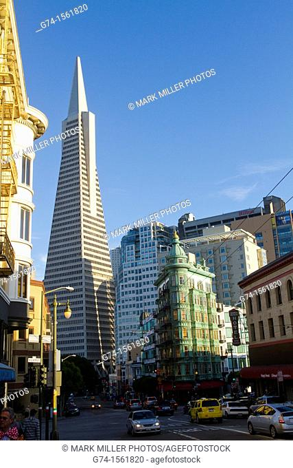 TransAmerica Building and Columbus Tower, Old and New Architecture, North Beach Landmark,San Francisco, California, USA