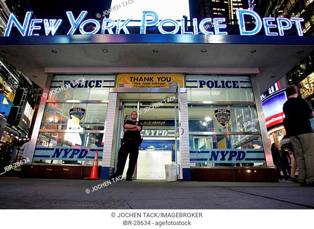 USA, United States of America, New York City: Times Square. Police station
